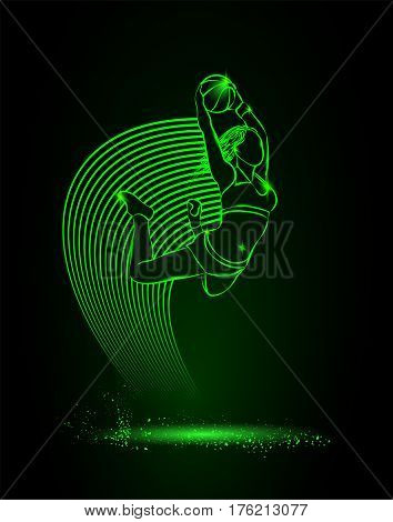 Basketball. The girl with the ball is jumping. Vector neon illustration.