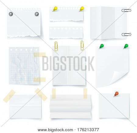 Pieces of torn white blank note paper with adhesive tape and push pin set isolated on white background vector illustration. Realistic line and square paper sheet and card ready for message.