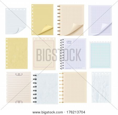 Pieces of colorful blank note paper set isolated on white background vector illustration. Realistic line and square paper sheet and card ready for message. Clean A4 diary sheet of spiral notepad