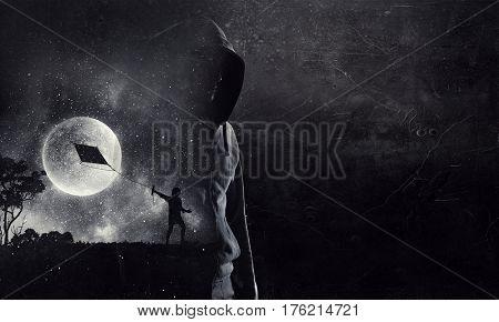 Spooky criminal person . Mixed media
