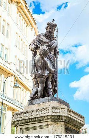 Statue in Graben Street, center of Vienna, Austria