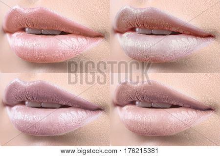 World of beautiful lips. Collage of beautiful sexy plump lips of a female fashion model colorful lipstick applied beauty cosmetics skin face augmentation fillers seductive sexuality hot concept