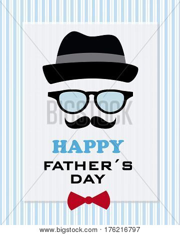 happy fathers day. Funny greeting card. Father hipster