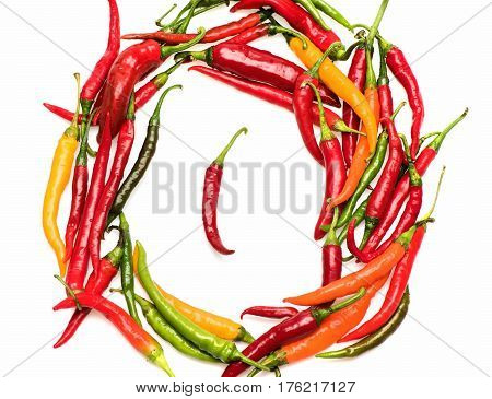 Colorful Fresh Vegetable, Capsicum, Chilly Pepper Isolated On White Background