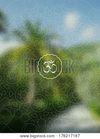 Tropical yoga banner with om symbol. Sacred geometry mandala on realistic tropic background. Sunny jungle. For yoga studio, tantra or meditation resort, flyer, invitation. Vector EPS10 illustration.
