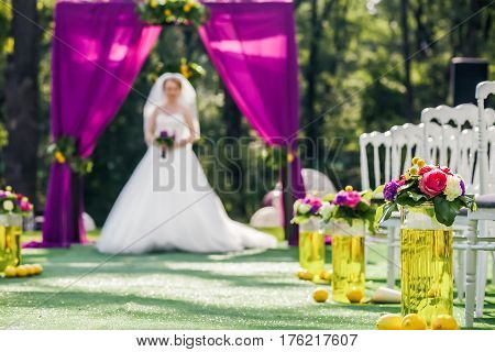 Bride standing in wedding archway. Arch decorated with purple cloth and green petals with lemons. Whote decorated wooden chairs on each side of it