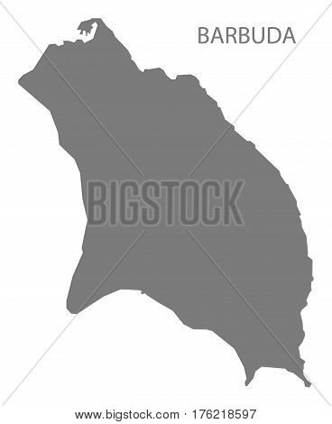 Barbuda Region Map Of Antigua Grey Illustration Silhouette