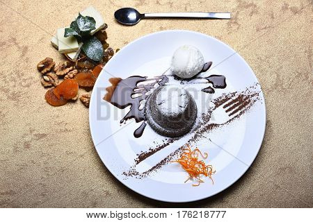 Cupcake Or Cake With Jam, Ice Cream, Dried Fruits
