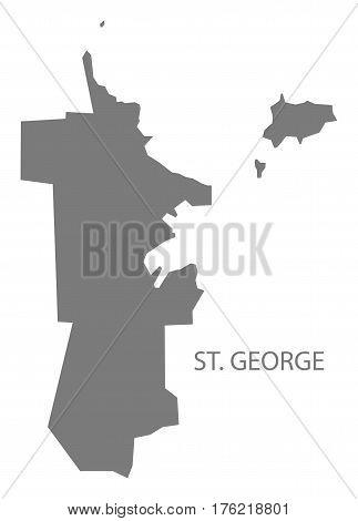 St. George Antigua And Barbuda Map Grey Illustration Silhouette