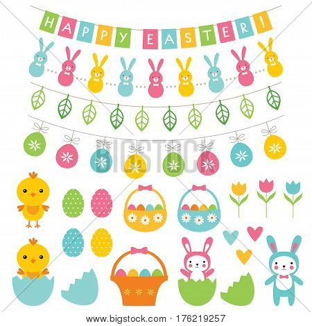 Easter banners, pennants, decoration and cartoons set