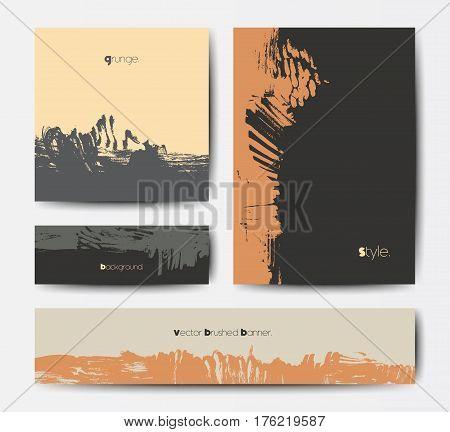 Modern grunge brush design templates, invitation, banner, art vector cards design in dark colors