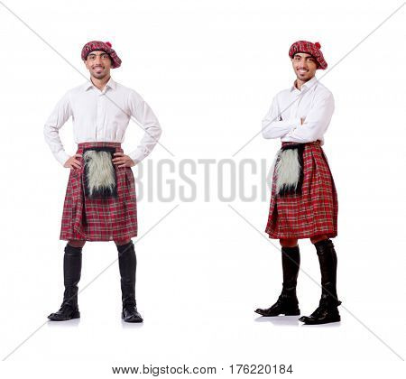 Concept with funny scotsman isolated on white