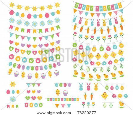 Easter vector bunting and decoration set. Used pattern brushes incuded