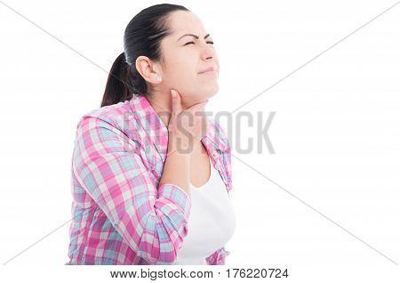Woman Feeling Bad Suffering From Throat Pain