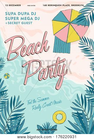 Summer event, festival vector Illustration placard. Beach party tropical poster colorful.