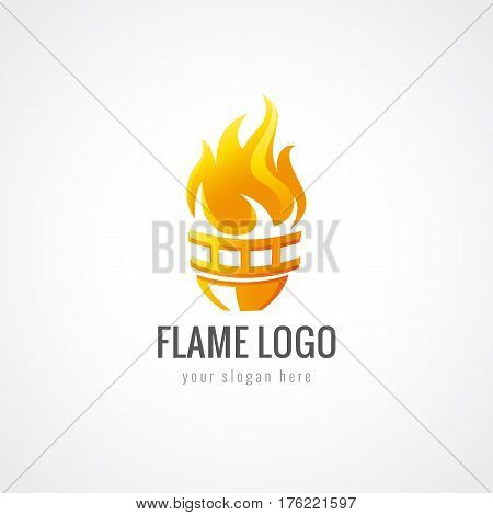 Flaming torch vector logo. Sport fiery sign. Competition's, union's, club's or confederacy colored branding icon.