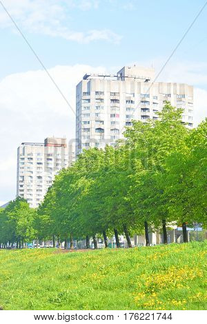 View of Smolenka River and Novo Smolenskaya embankment on Vasilevsky Island in St. Petersburg Russia.