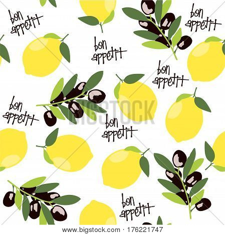 Vector seamless pattern with lemon, olive branch and the inscription