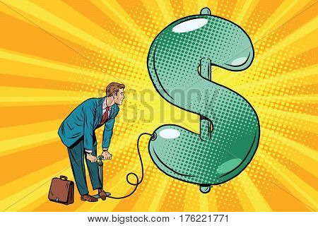 Retro businessman inflating the dollar balloon. Pop art vector illustration. business and Finance