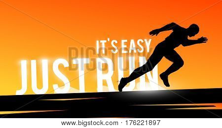 Vector sports web banner. Motivational concept. The silhouette of the biker. Runner silhouette. Running man. Extreme outdoor sports.