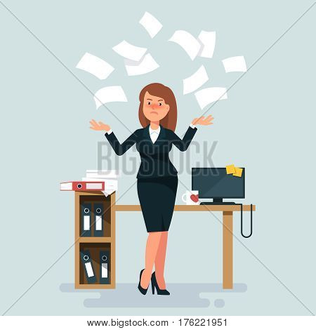 Vector illustration of stressed businesswoman throws in the air of office paper workplace on blue background. Concept of angry and exasperated employee