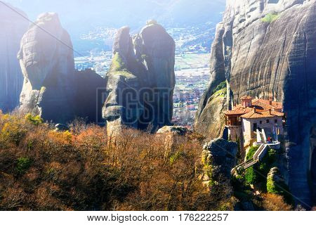 Hanging moasteries of Meteora. Sunny morning. Central Greece
