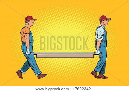 workers with a stretcher. Pop art retro vector illustration