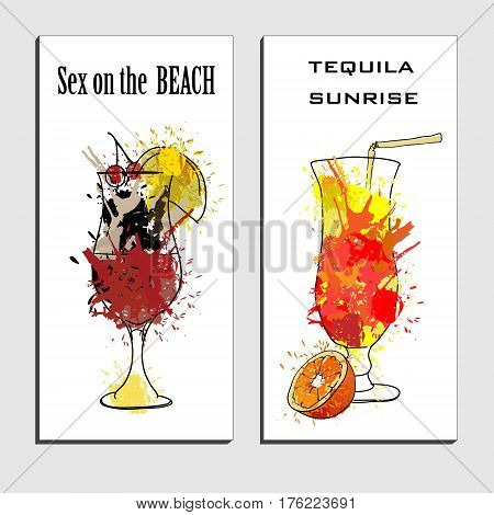 Vector illustration of cocktails menu drawing Tequila sunrise and sex on the beach with orange. Watercolor cocktail banners.Alcohol, Summer drinks. Spray, spot watercolor effect.