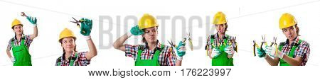 Woman worker isolated on the white