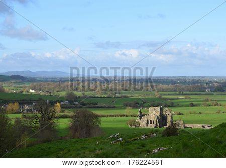 Hore Abbey bathed in sunlight in Ireland.