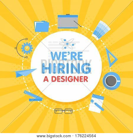 We Hire A Designer. Megaphone Concept Vector Illustration. Banner Template, Ads, Search For Employee