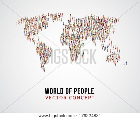 People global connection, earth population on world map vector concept. Global population on planet, population of people on form world map illustration