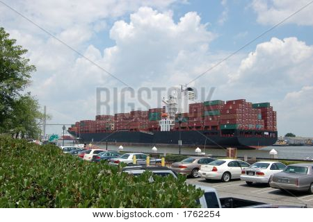 Container Ship Steams Into Port