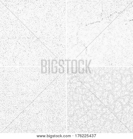 Grey subtle dotted grunge vector textures, distressed noise weathered patterns set. Distressed wall after weathered, illustration of grunge wall pattern effect