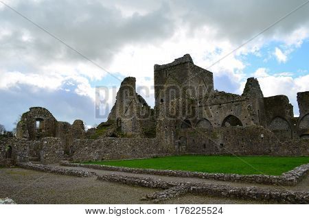 In the shadows of the Rock of Cashel are the ruins of Hore Abbey.