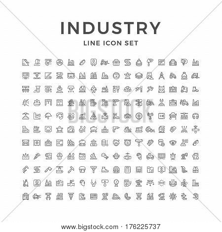 Set line icons of industry isolated on white. Vector illustration