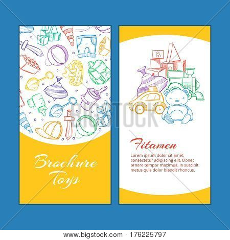 Vector children brochure pages with doodle kids toys. Brochure toys, illustration of page booklet with toys teddy and car