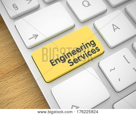 Engineering Services Written on Yellow Keypad of White Keyboard. Close Up View on the Modern Laptop Keyboard - Engineering Services Yellow Button. 3D Render.