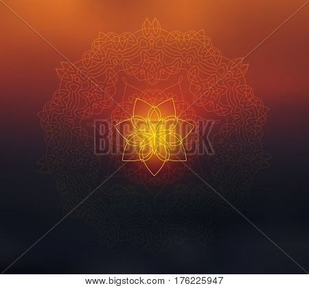 Shiny mandala on blurred background. Blur sunset colors. Sacred geometry. Indian traditional ethnic ornament. For yoga studio or meditation classes, flyer, card, invitation. Vector EPS10 illustration.