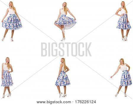 Woman in fashion looks isolated on white