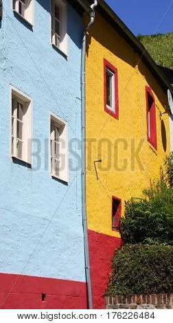 Colorful façdes in Zell on the Moselle. Germany