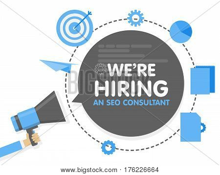 We Hiring A Seo Consultant Analyst. Megaphone Concept Vector Illustration. Banner Template, Ads, Sea