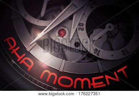 Luxury Pocket Watch with Aha Moment on Face, Symbol of Time. Aha Moment on Men Pocket Watch Detail, Chronograph Close View. Work Concept with Lens Flare. 3D Rendering.