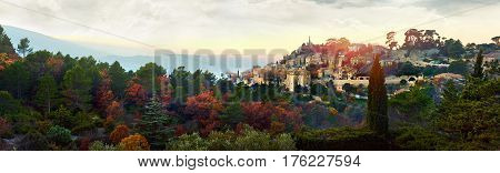 Panorama of Bonnieux village. Provence-Alpes-Cote d'Azur region in southeastern France. Bonnieux village is included in list of