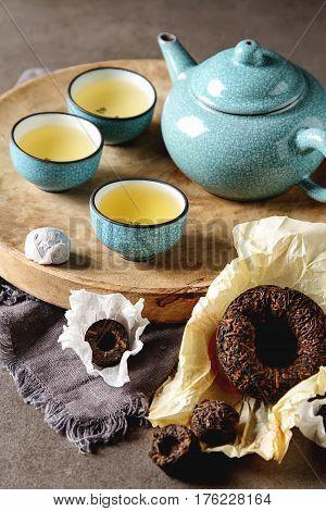 Porcelain Chinese Cups, Steel Teaspoon. Black, Green, Puerh, Ool