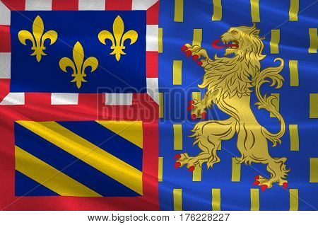 Flag of Bourgogne-Franche-Comte is a Region of France created by the territorial reform of French Regions in 2014 by the merger of Burgundy and Franche-Comte. 3D illustration