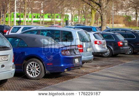 HANNOVER / GERMANY - MARCH 12 2017: cars stands on a parking area