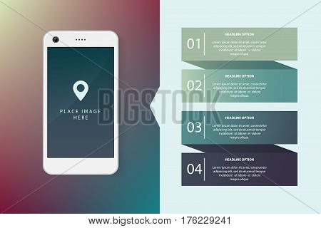 Smartphone realistic illustration with flat infographics elements. Template for website, business presentation, demonstration of mobile application development.