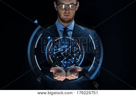 business, future technology, cyberspace and people - businessman with virtual projection over black background