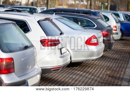 a lot of german cars on a parking area